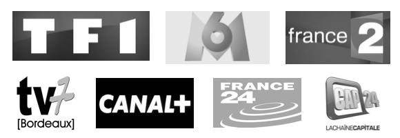 TF1, M6, France 2, TV7 Bordeaux, Canal+, France 24, Cap24 Paris