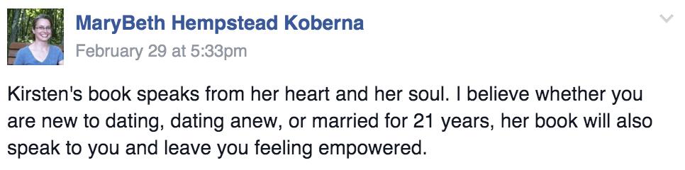 To Love and Be Cherished Book Testimonial Mary Beth Koberna