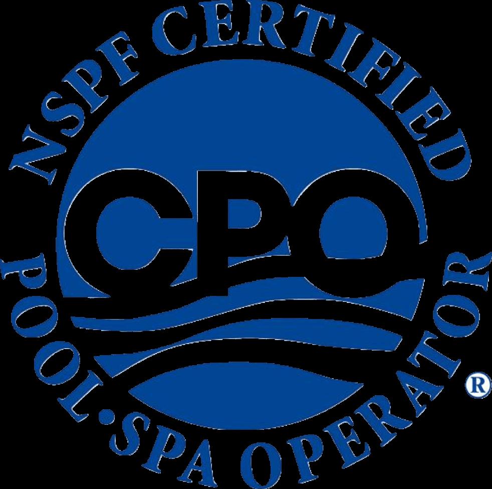 Blue CPO NSPF Certified Pool Operator Logo