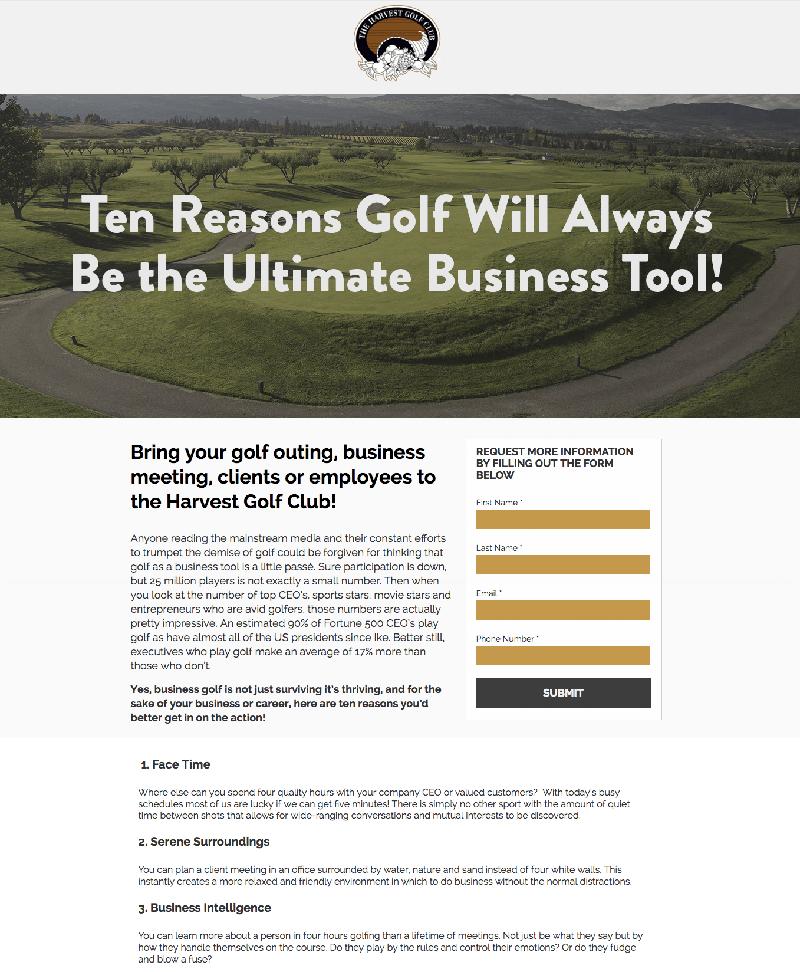 Golf Marketing Landing Page
