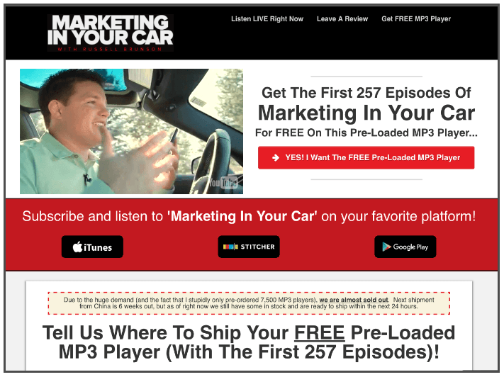 FREE Marketing In Your Car MP3 Player