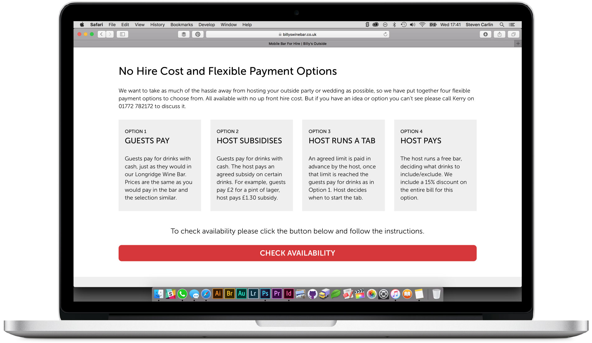 Pricing table section.