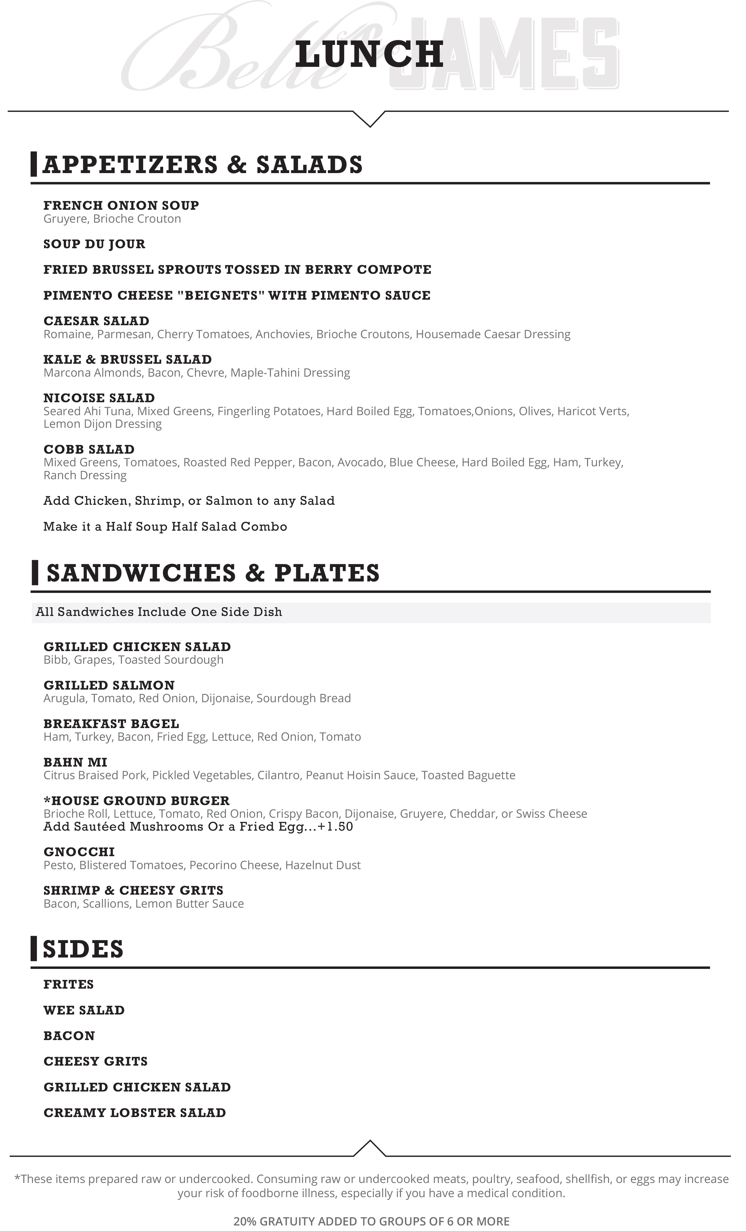 belle and james richmond lunch menu