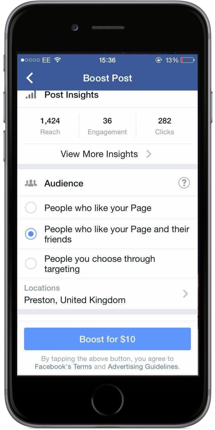 Facebook post boost tool.