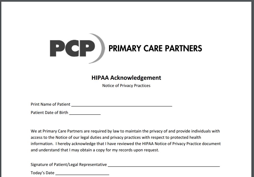 HIPAA Acknowledgment Form