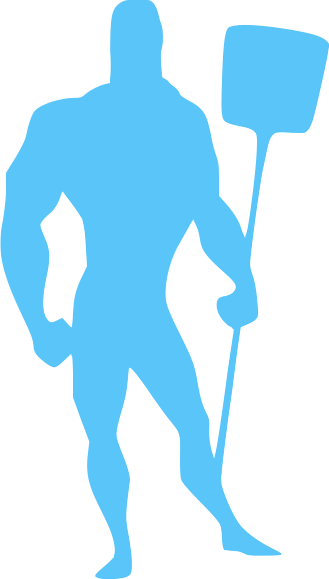 Blue pool service professional guy icon